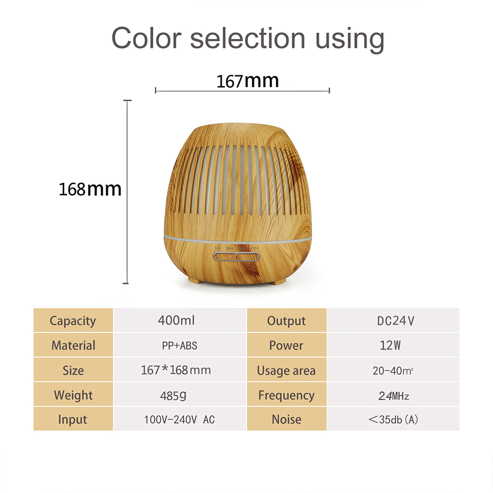 Hollow Aroma Diffuser Essential Oil Diffuser Aromatherapy Cool Mist Humidifier- Deep Brown UK Plug