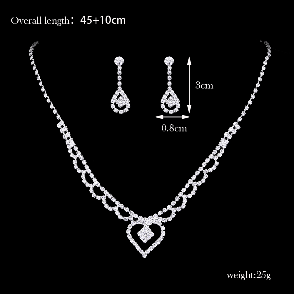 FEIS Fashion Heart-Shaped Hollowing Out Necklace Jewelry Set- Silver