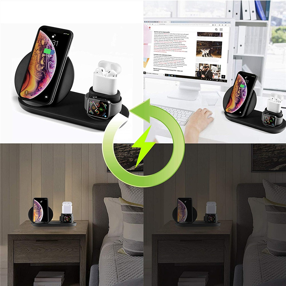 3 in 1 QI Wireless Charging Stand for iPhone Xs/X/Xs Max/8/7/Airpods/Apple Watch- Black