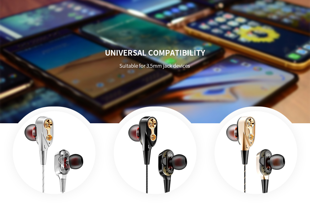 Double Speaker Stereo In-ear Earphones Heavy Subwoofer Earbuds with Mic and In-line Control- Gold