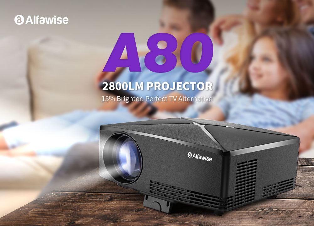 Alfawise A80 2800 Lumens BD1280 Smart Projector Android 6.0 Version- Black Android EU Plug