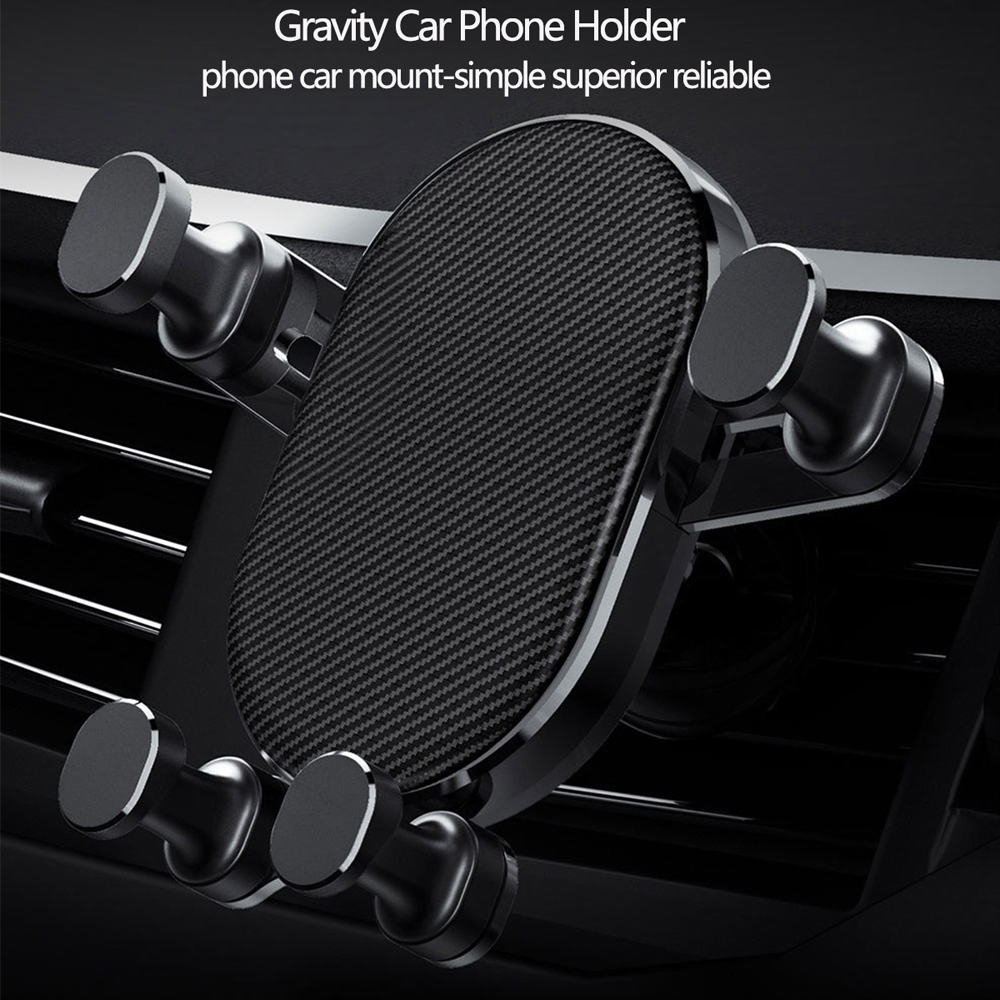 Portable Durable Universal Air Outlet Gravity 360 Rotation Car Phone Holder- Black