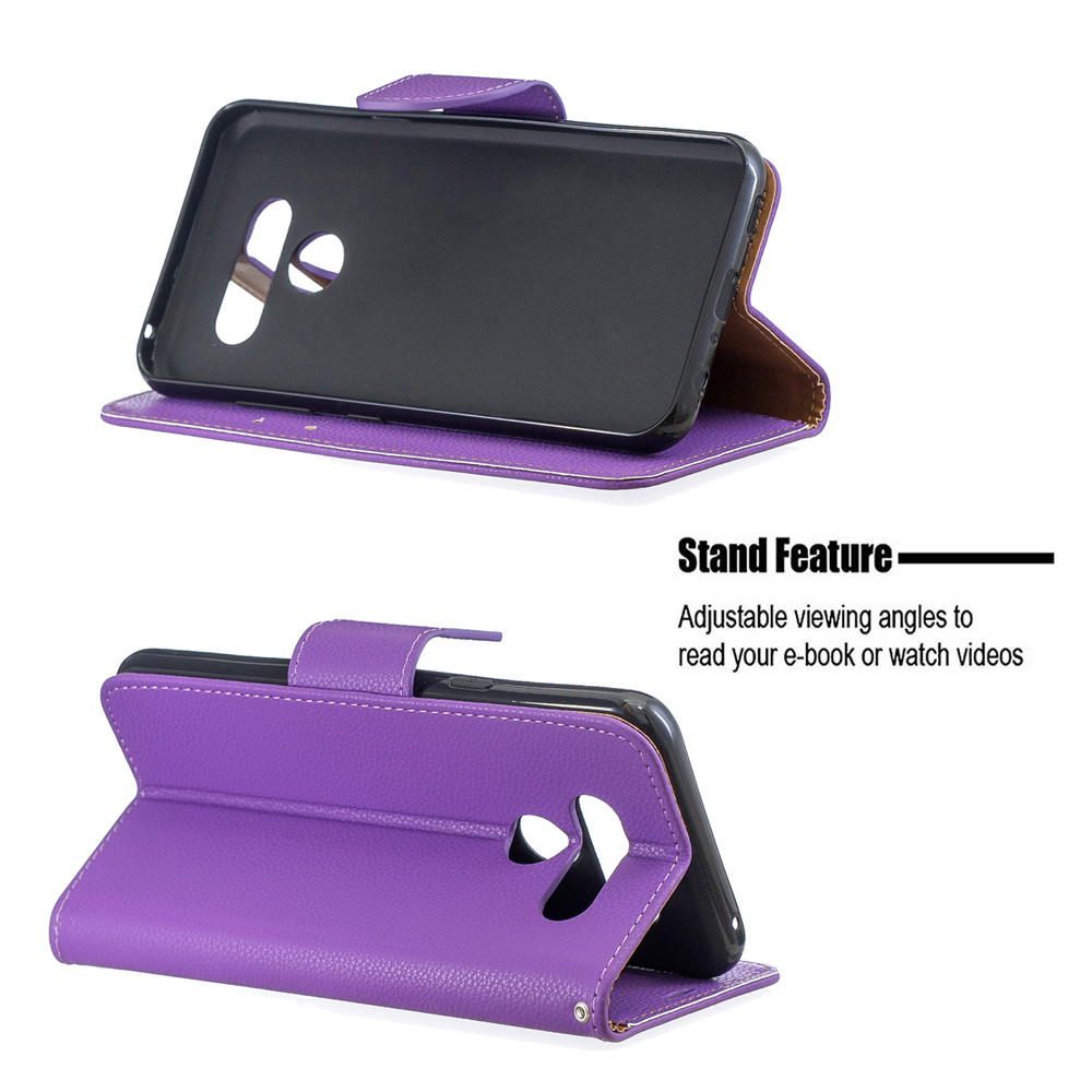 Solid Color Lychee Full Protection Phone Case for LG K50 / Q60- Purple