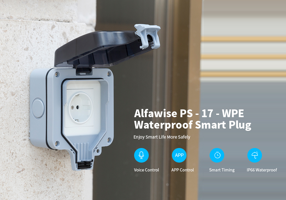 Alfawise PS - 17 - WPE Smart WiFi IP66 European Standard Socket- White