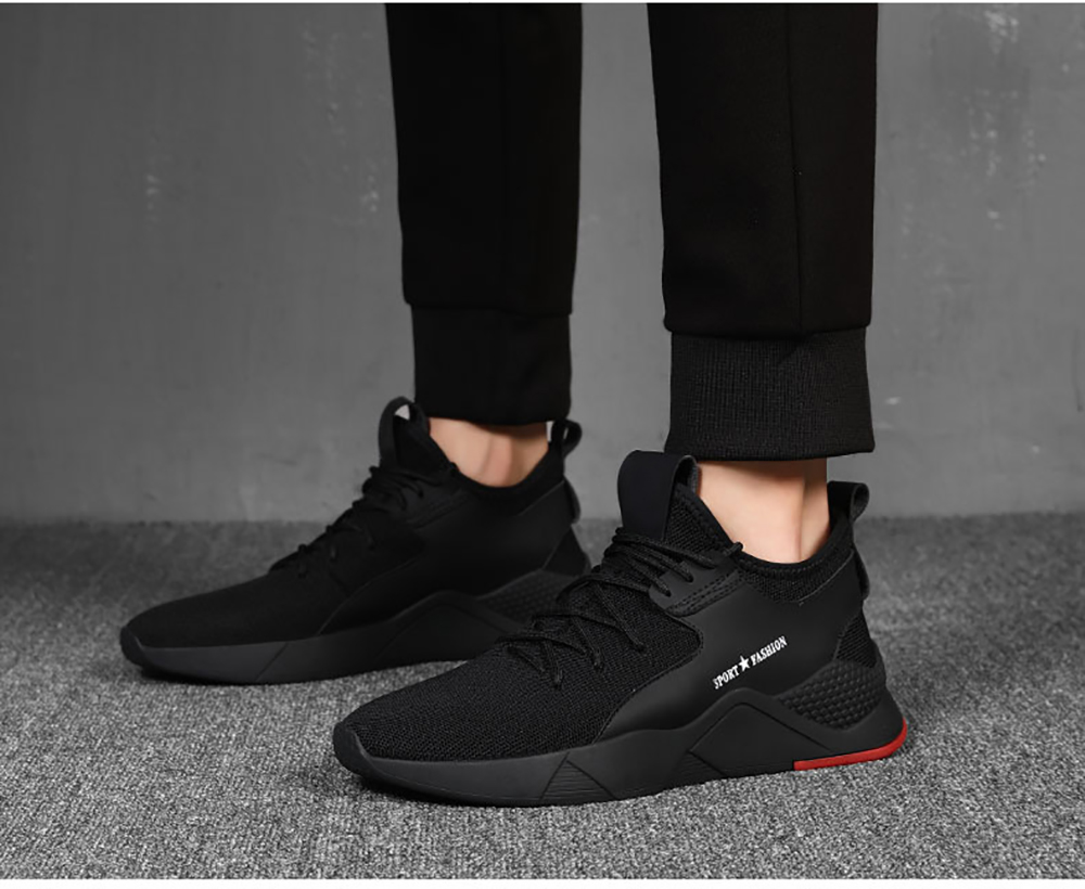 Men New Single-Style Sports and Leisure Running Shoes- Black EU 42