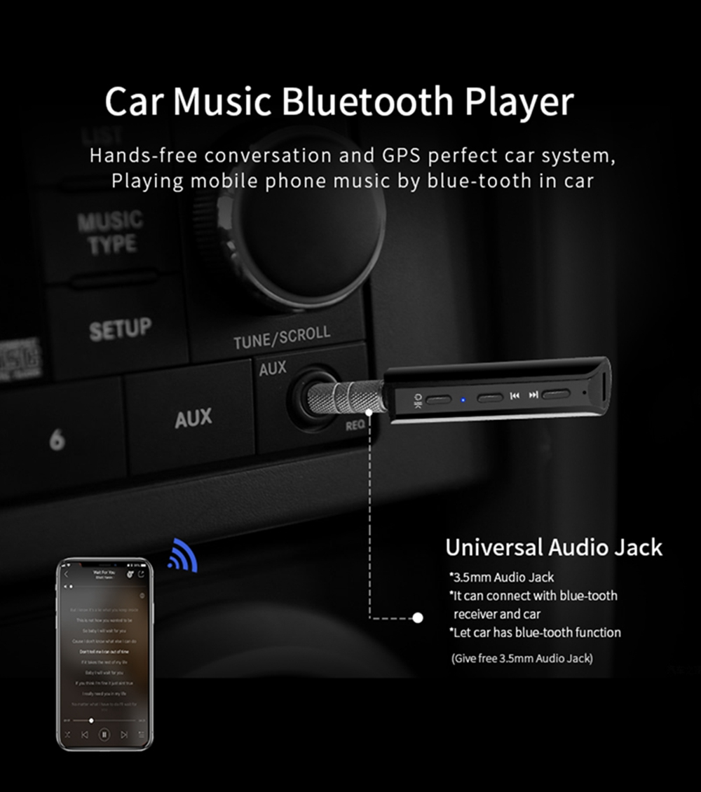 AUX Wireless Bluetooth Receiver 3.5MM Handsfree Car Kit Audio Adapter- Black