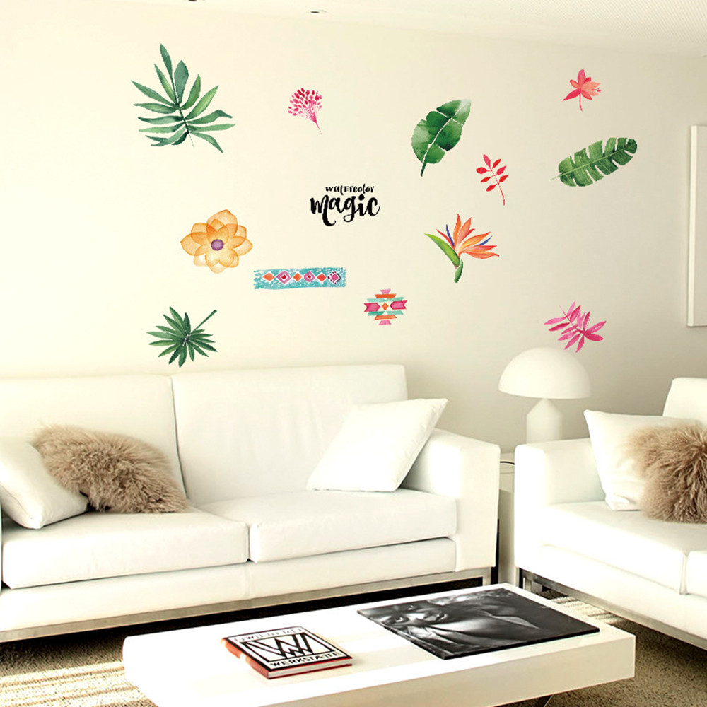 Snake Skin Tropical Skin Wallpaper 3D Wall Sticker decor Watercolor leaves Wall Mural Self Adhesive Exclusive Design Photo Wallpaper