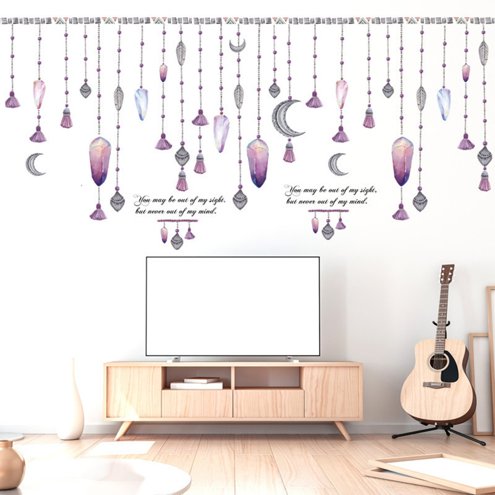 Simple Bead Curtain Window Home Background Wall Decoration Wall Sticker- Multi-A 60x90cm