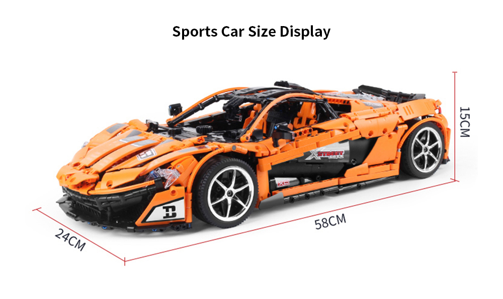 42056D 2.4G Remote Control 12CH Sports Car Blocks with Cool Light- Sandy Brown with power system