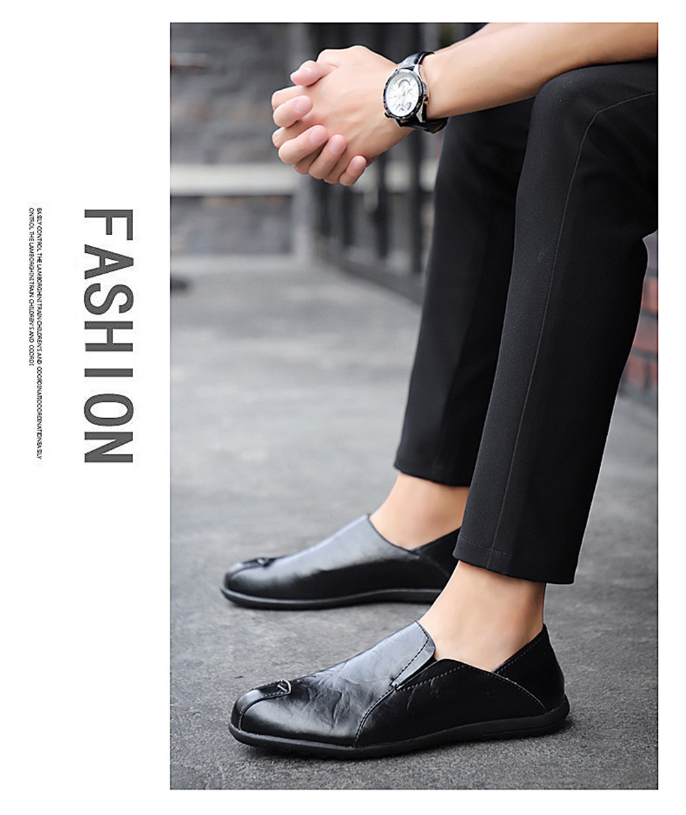 Men Special Genuine Leather Casual Shoes Loafers Men Shoes- Jet Black EU 39