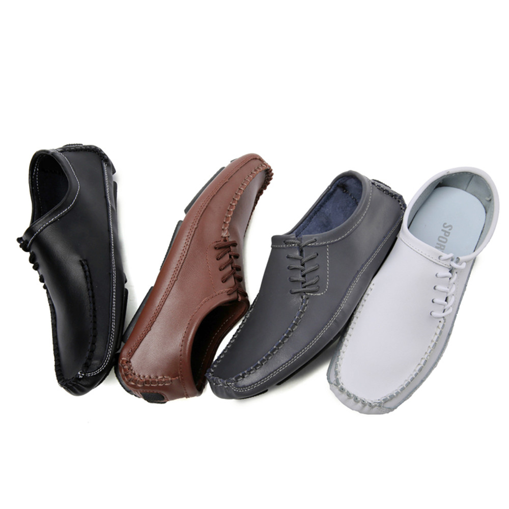 Loafers Breathable Genuine Leather Casual Sandals for Men- White EU 43