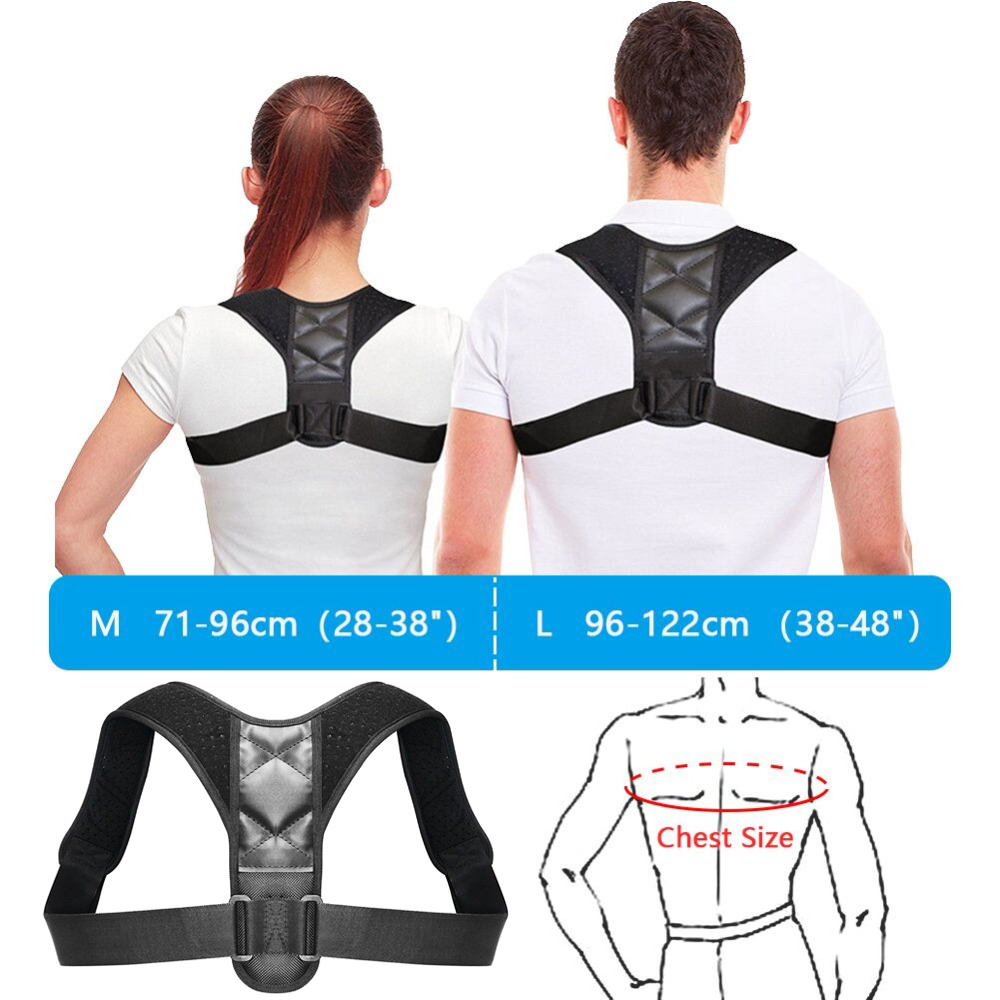Portable Durable Medical Back Clavicle Correction with Tight Belt Support- Black M