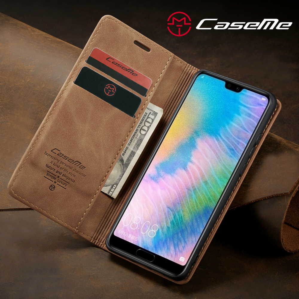 CaseMe Flip Wallet Phone Case Ultra-thin Cover with Stand for Huawei P20- Black