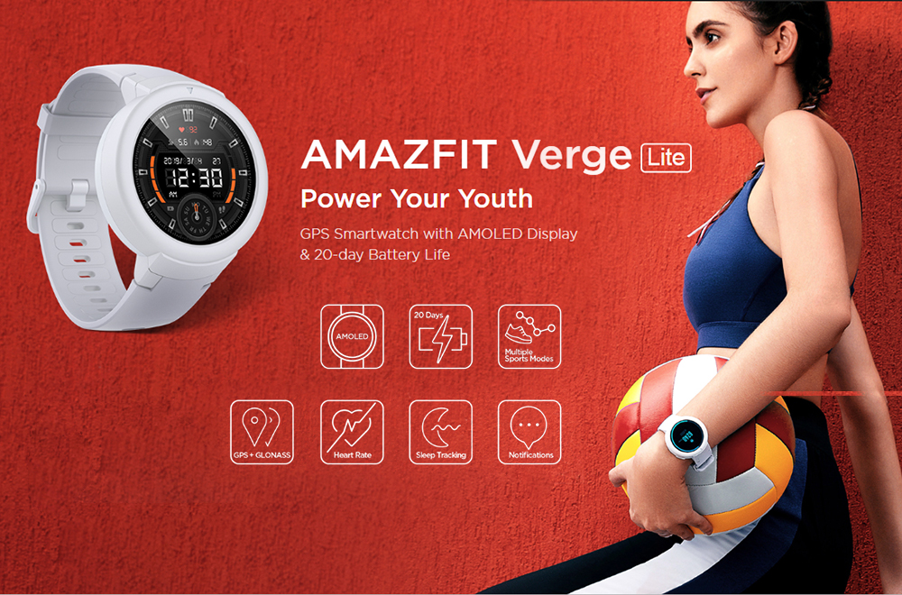 Amazfit Verge Lite Bluetooth Smartwatch 20 Days Standby 1.3 inch AMOLED Screen Built-in GPS Heart Rate Monitor Sports Smart Bracelet Global Version- Light Slate Gray