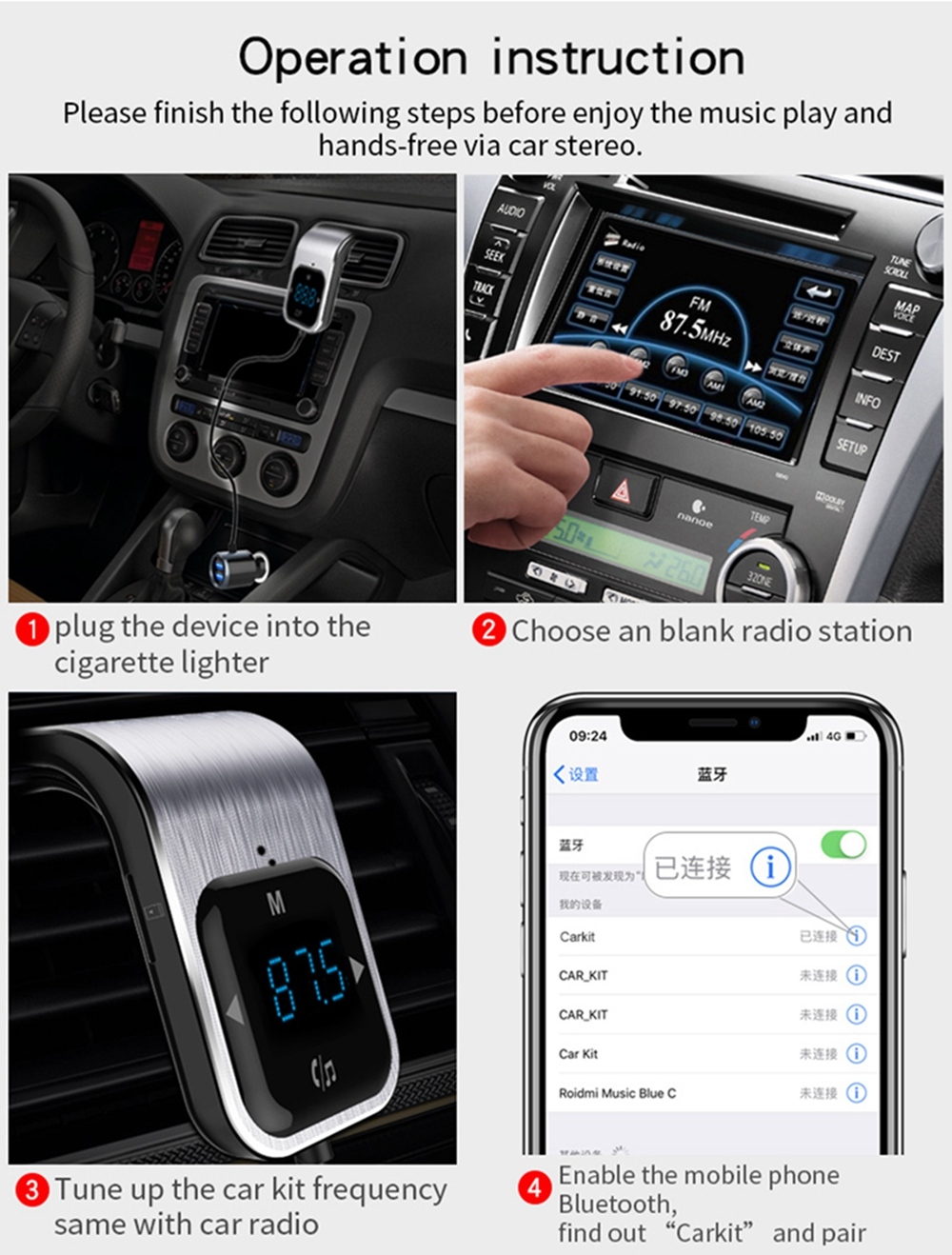 BC39 Wireless In-Car Bluetooth FM Transmitter Dual USB Charger Input TF Card Car- Silver
