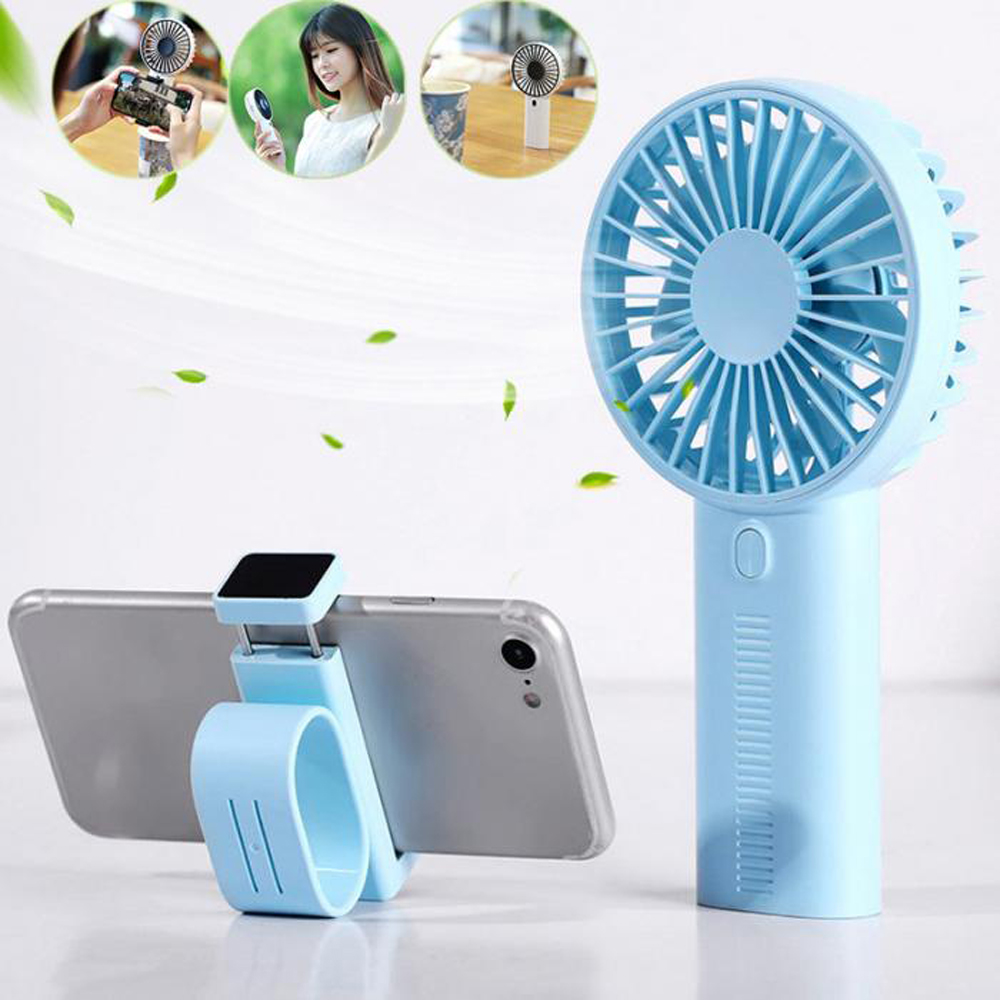 Portable Mini USB Manual Adjustable Speed Charging Desktop Fan Phone Bracket- Day Sky Blue