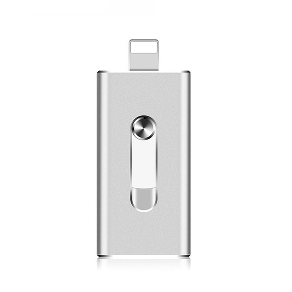 USB 3 in 1 Metal U Disk for IOS/Android/PC- Silver 8G