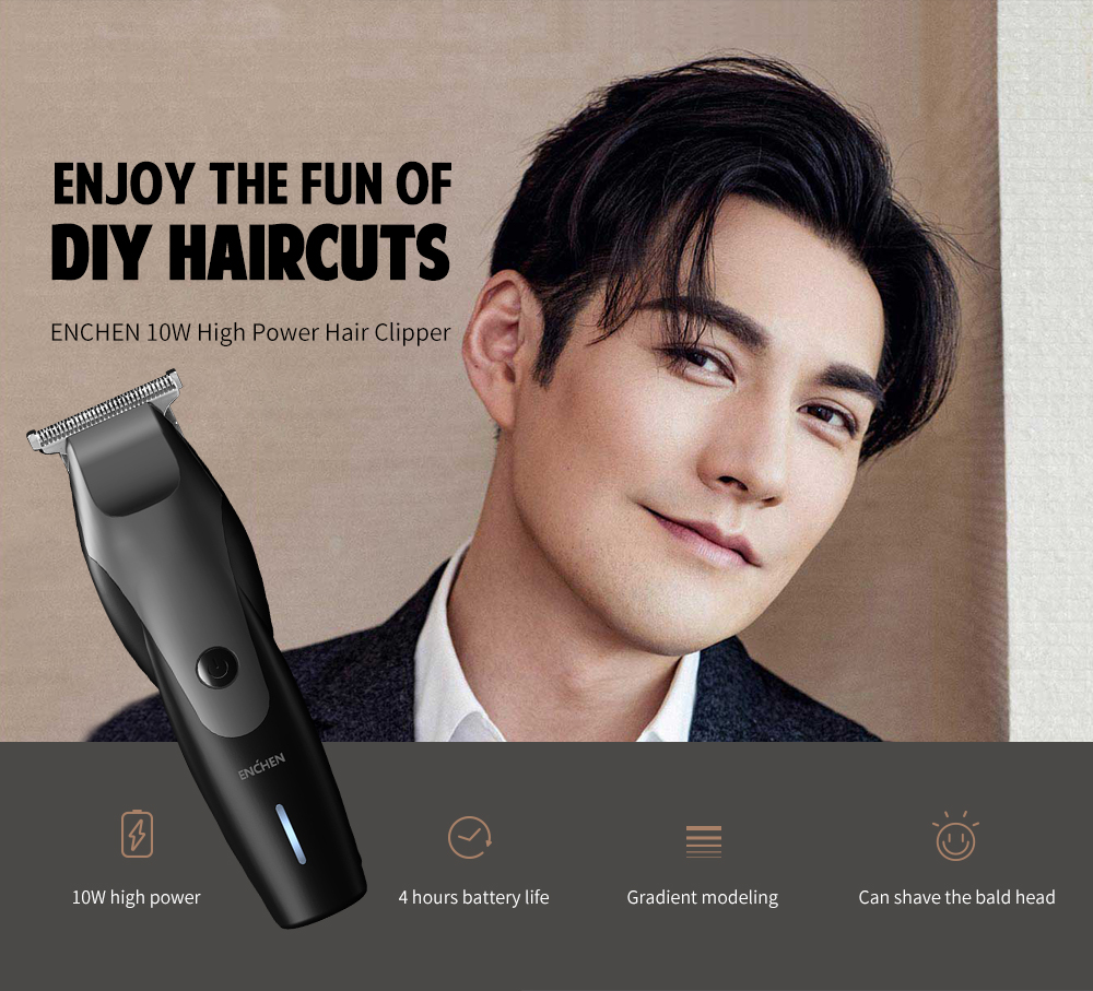 ENCHEN 10W High Power Hair Clipper Gradient Shape from Xiaomi youpin- Black