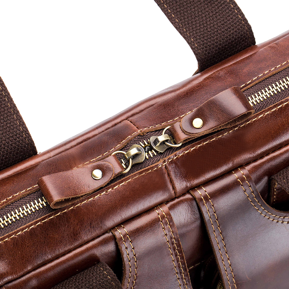 LAOSHIZILUOSEN High-Grade Leather Bag Leisure Briefcase Business Men's Bag- Brown