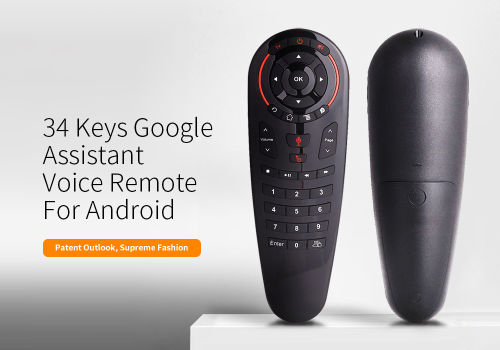 G30 2.4G Wireless Voice Air Mouse 34 Keys IR Learning Gyro Sensing Smart Remote Control for Game Android TV Box- Black
