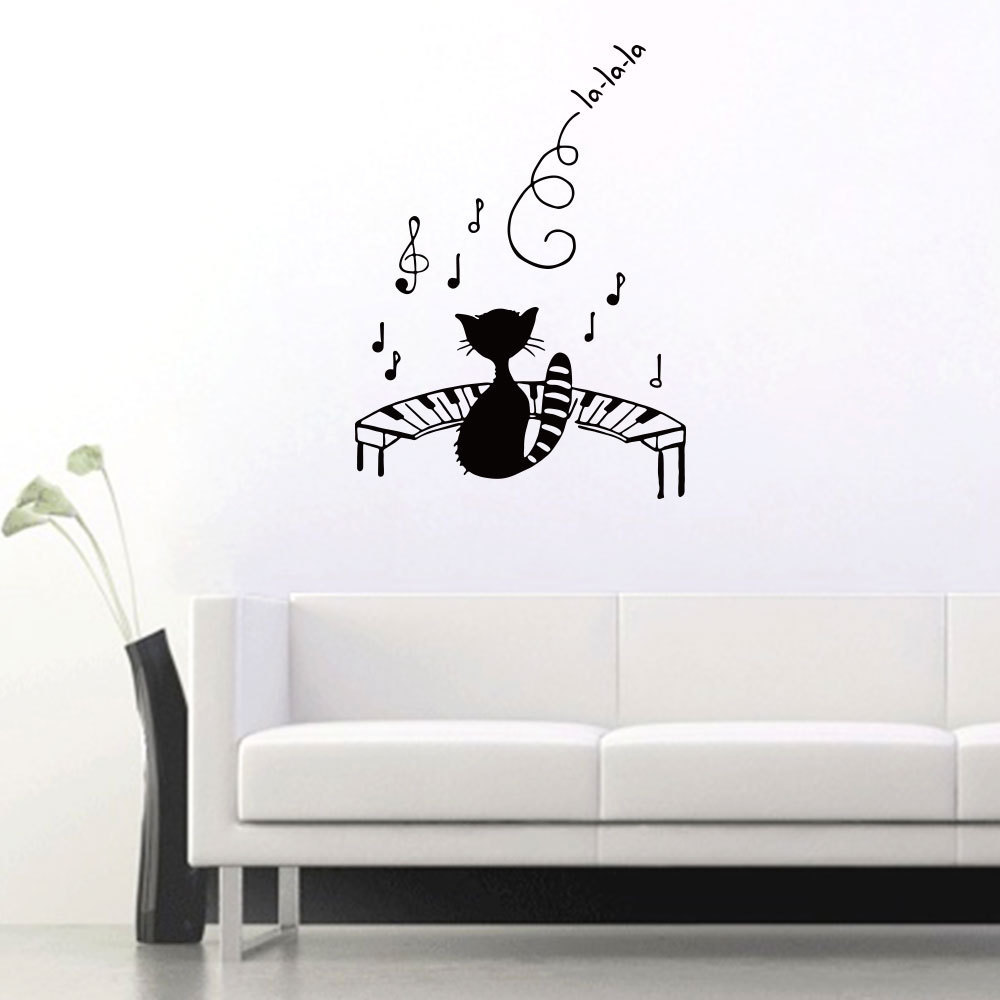 Cat Playing The Piano Home Background Decorative Wall Stickers Removable Sticker- Black 43x57cm