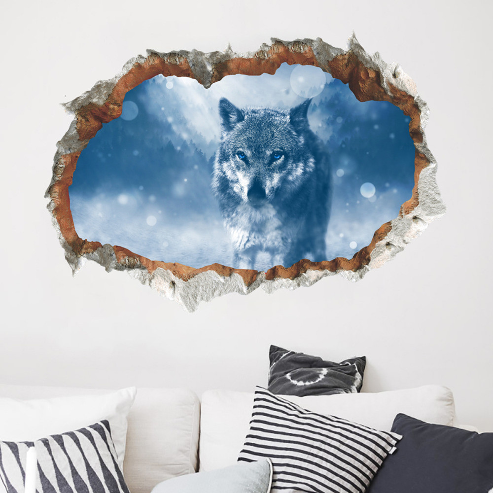 3D Broken Wall Stereo Effect Wall Stickers Removable Home Decoration- Multi-A 50x70cm