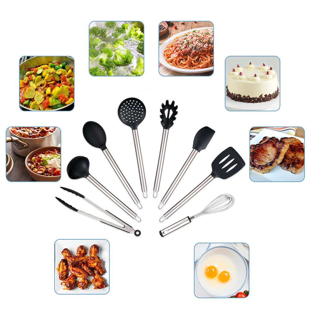 Kitchen Utensil Set Heat Resistant Silicone Heads Cooking Tools 23pcs - Black