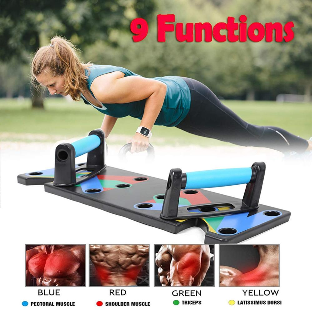 9 in 1 Push Up Rack Board Men Women Comprehensive Fitness Exercise Push-up- Black 3.5cm*94.7cm*41cm