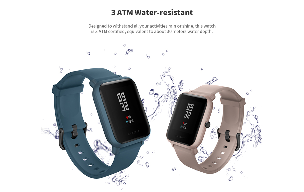 AMAZFIT Bip Lite Long Lasting Time / 3ATM Waterproof / Light Weight / Heart Rate Monitor Smart Watch - Black