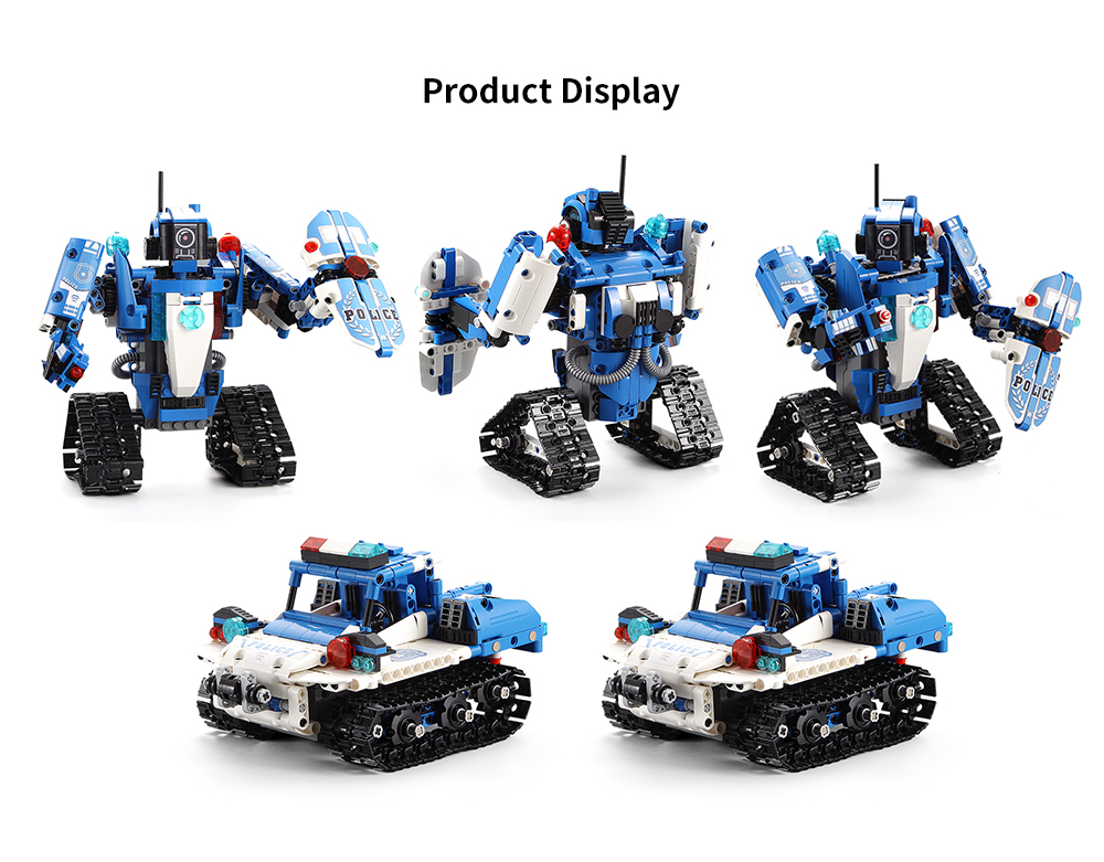 CaDA C51049W Police Robot Car 2-in-1 Building Blocks 360 Degree Rotation with Siren 526PCS- Blue