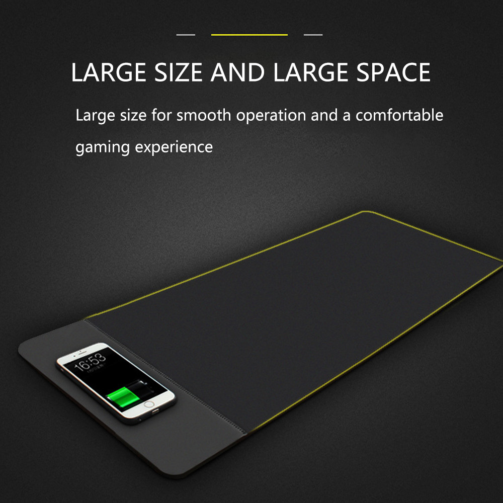 Wireless Charger Charging Mouse Pad Mat PU Leather Mousepad- Black