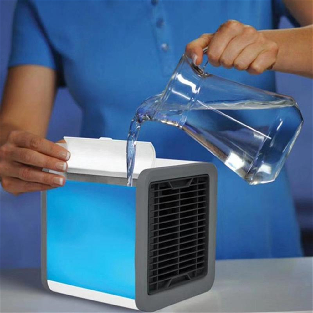 USB Mini Portable Air Conditioner Light Desktop Air Cooling Fan Air Cooler- White