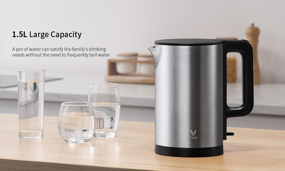 VIOMI Home 1.5L Large Capacity Quick Heating Indicator Prompt Electric Kettle from  youpin- Silver