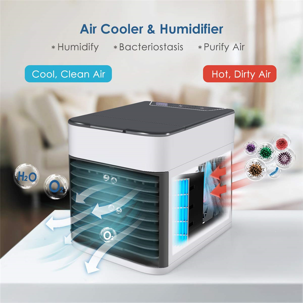 USB Mini Portable Air Conditioner Arctic Humidifier Purifier Air Cooling Fan- White