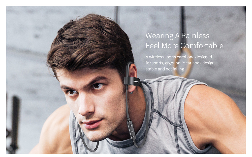 Awei WT50 Sports Long Battery Life IPX4 Bluetooth Earphones Stereo Earbuds with Mic- Black