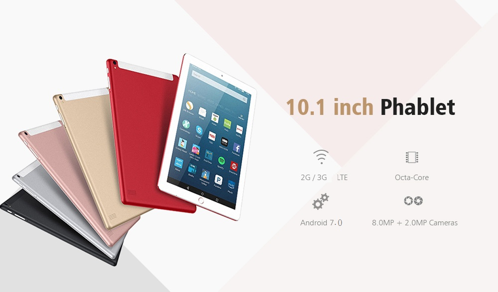 10.1 inch Android7.0 3G Phablet Tablet PC MTK6592 Octa Core 1.7GHz Mali 400 MP4 2GB RAM 32GB ROM 2 Cameras 5000mAh Battery Built-in - Black EU Plug
