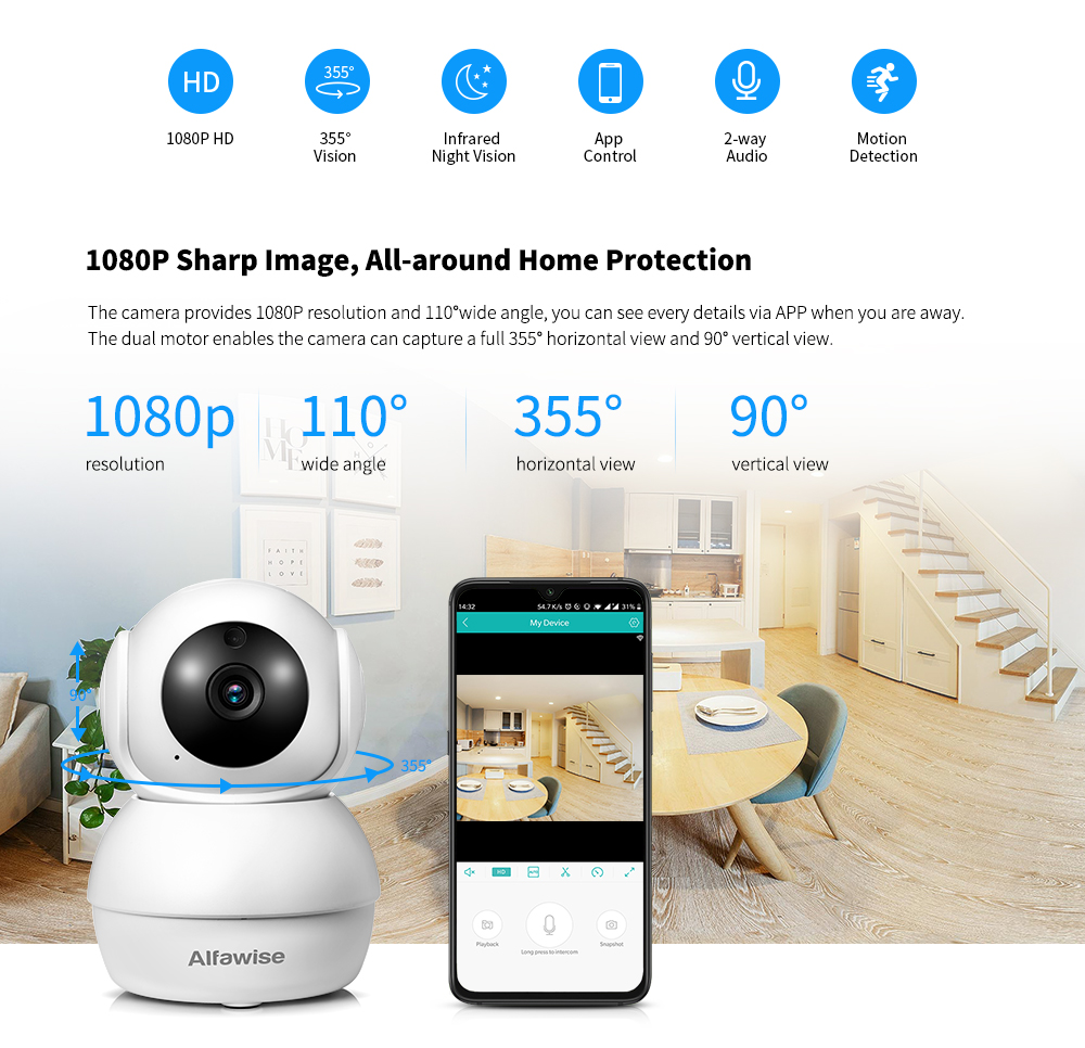 Alfawise N816 1080P WiFi Security IP Camera- White