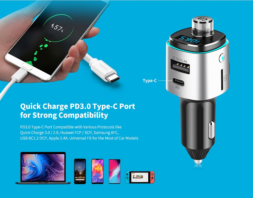 Alfawise PD3.0 Bluetooth 4.2 FM Transmitter Car Charger- Silver PD