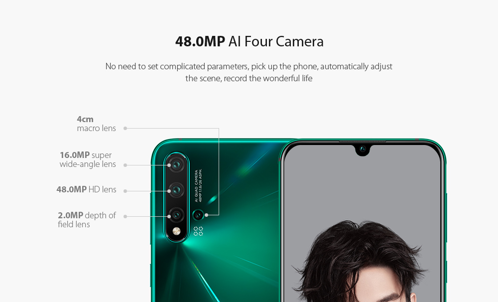 HUAWEI nova 5 Pro 4G Phablet 6.39 inch Android 9.0 Kirin 980 Octa Core 8GB RAM 256GB ROM 48.0MP + 16.0MP + 2.0MP + 2.0MP Rear Camera 3500mAh Battery- Dark Turquoise
