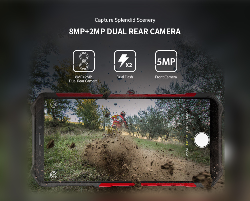 Ulefone Armor X3 3G Phablet 5.5 inch Android 9.0 MT6580 Quad Core 2GB RAM 32GB ROM 8.0MP + 2.0MP Rear Camera 5000mAh Battery- Black EU