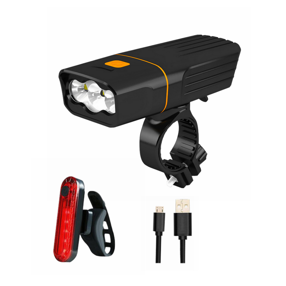 ZHISHUNJIAT High-light Bicycle Headlights and Taillights USB Charging Lamp- Black