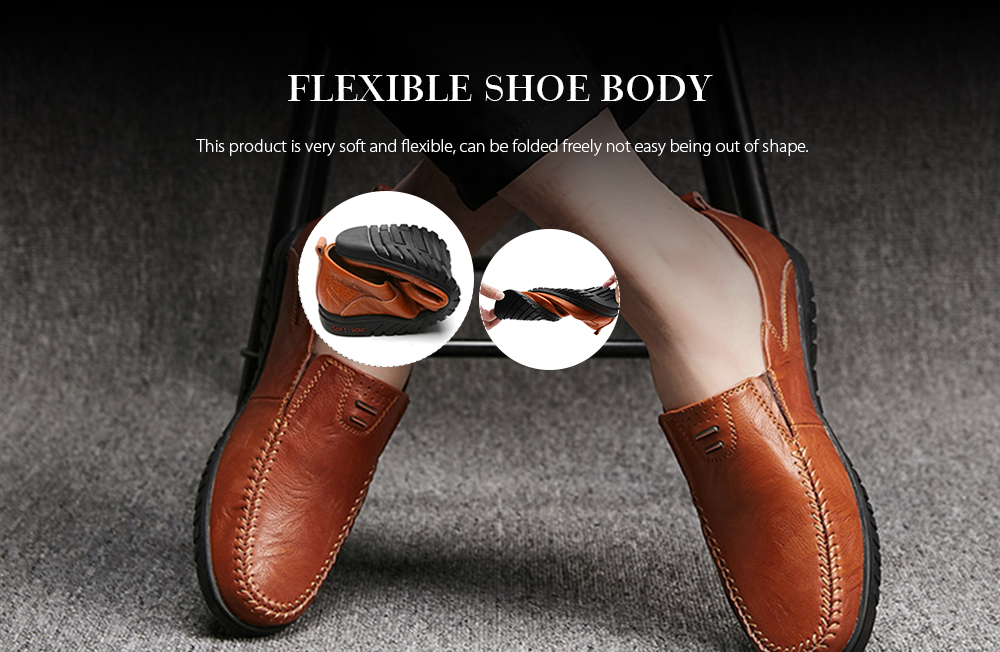 Split Leather Men Casual Shoes Fashion Top Quality Driving Moccasins- Brown EU 43