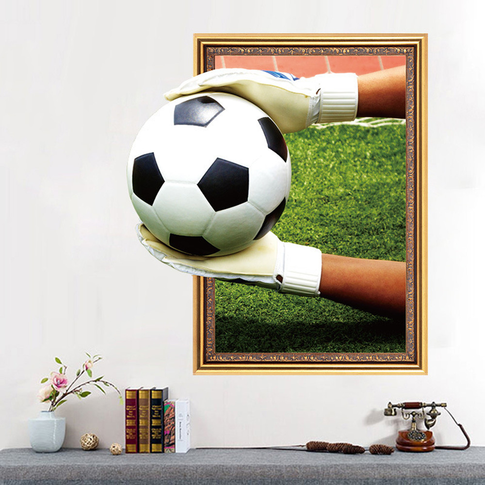 Football Theme 3D Home Background Decoration Removable Sticker- Multi-A 45x60cm