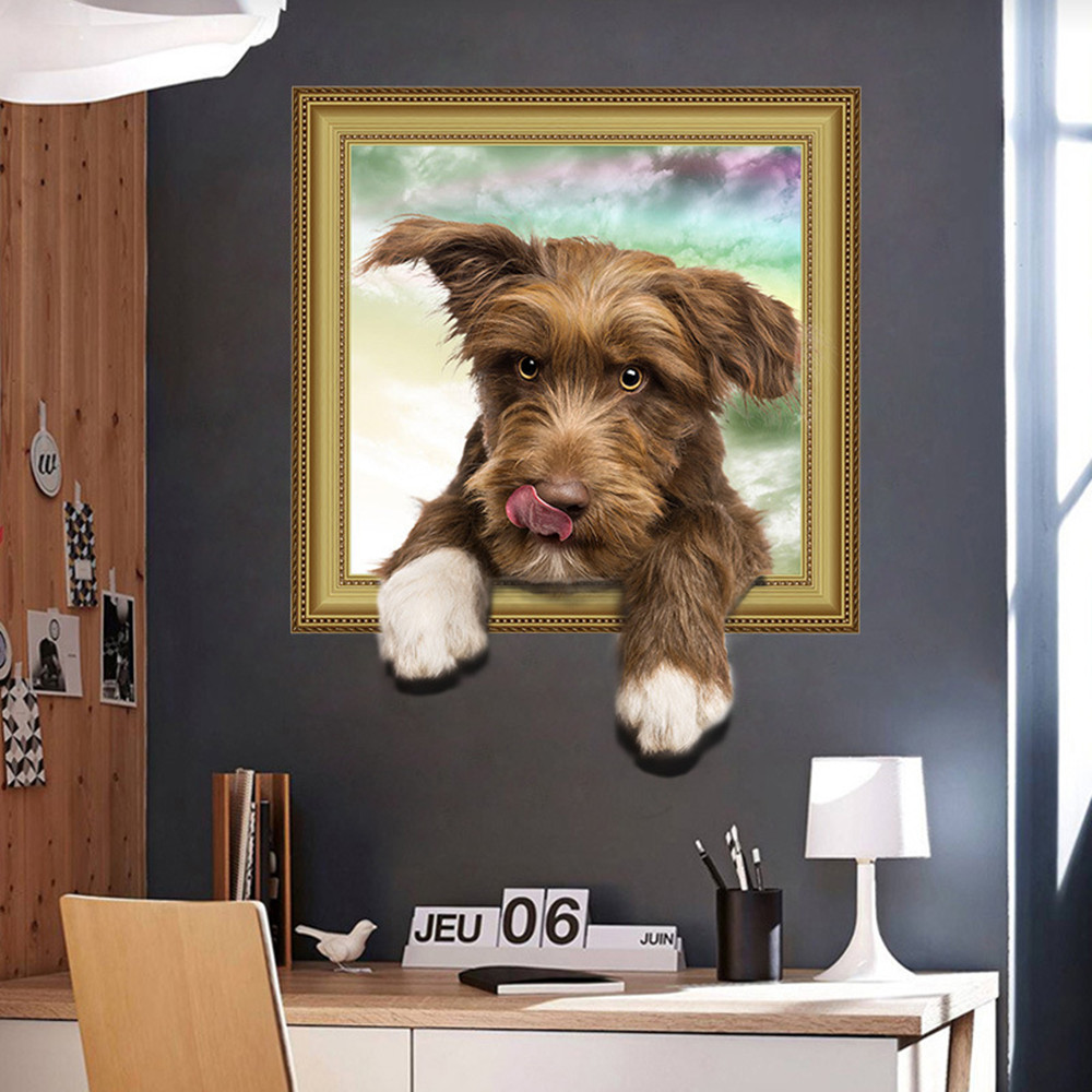 New 3D Simulation Cute Dog Home Background Decoration Removable Sticker- Multi-A 50x40cm