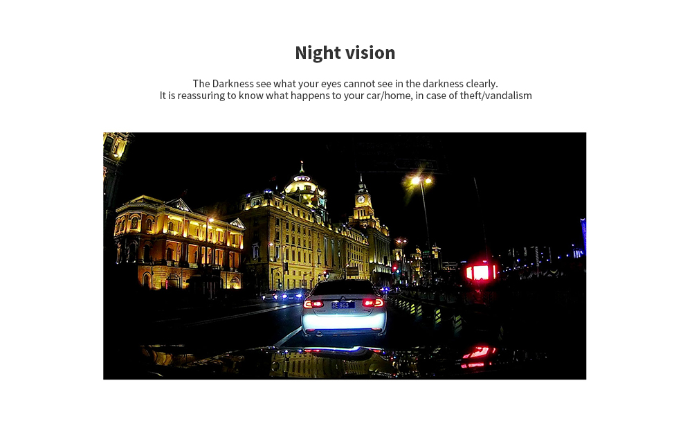 Tecney 4 inch Large Wide Angle / 1080P HD / Night Vision Three Shots Recordings Driving Recorder - Black