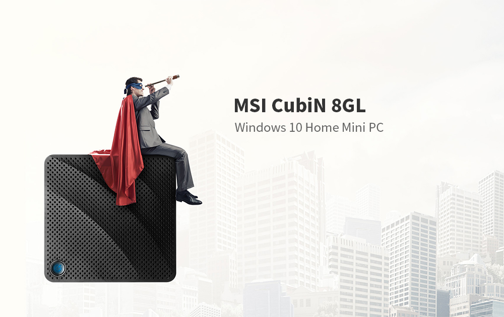 MSI CubiN 8GL Intel Gemini Lake Celeron N4000 / HD Graphics 600 / 2.4GHz + 5GHz / WiFi 1000Mbps / 2 USB 3.1 / BT 4.2 / Support 4K 60Hz Windows 10 Home Mini PC - Black