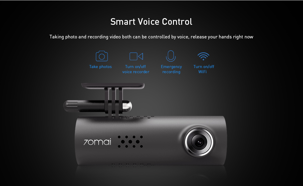 70mai 1S 1080P Dash Cam Smart WiFi Car DVR Parking Monitor Starvis Night Vision Voice Control- Black International Version