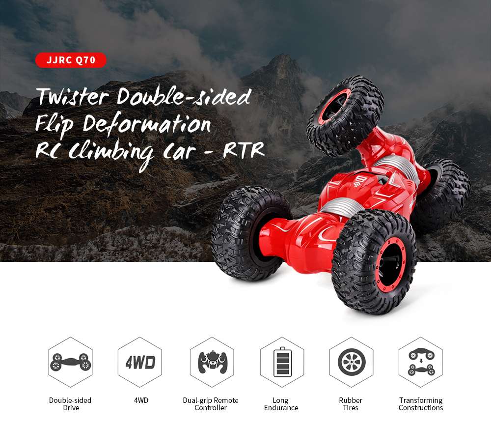 JJRC Q70 Twister Double-sided Flip Deformation Climbing RC Car - RTR- Black