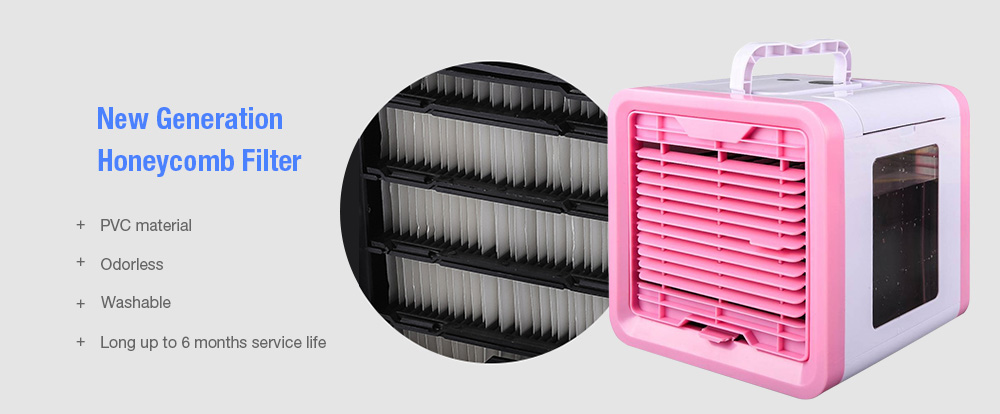 USB Mini Air Conditioner Home Desktop Water Cooling Fan- Pink