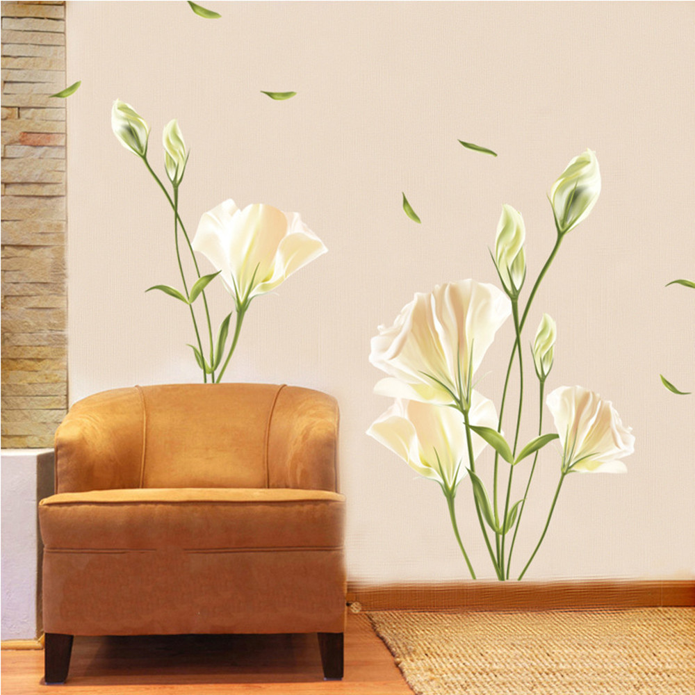 Lily Flower Home Background Wall Decoration Wall Sticker Removable Stickers- Multi-A 60x90cm
